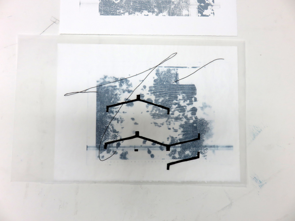 Adler Guerrier work-in-progress, triptych edition, screenprint p