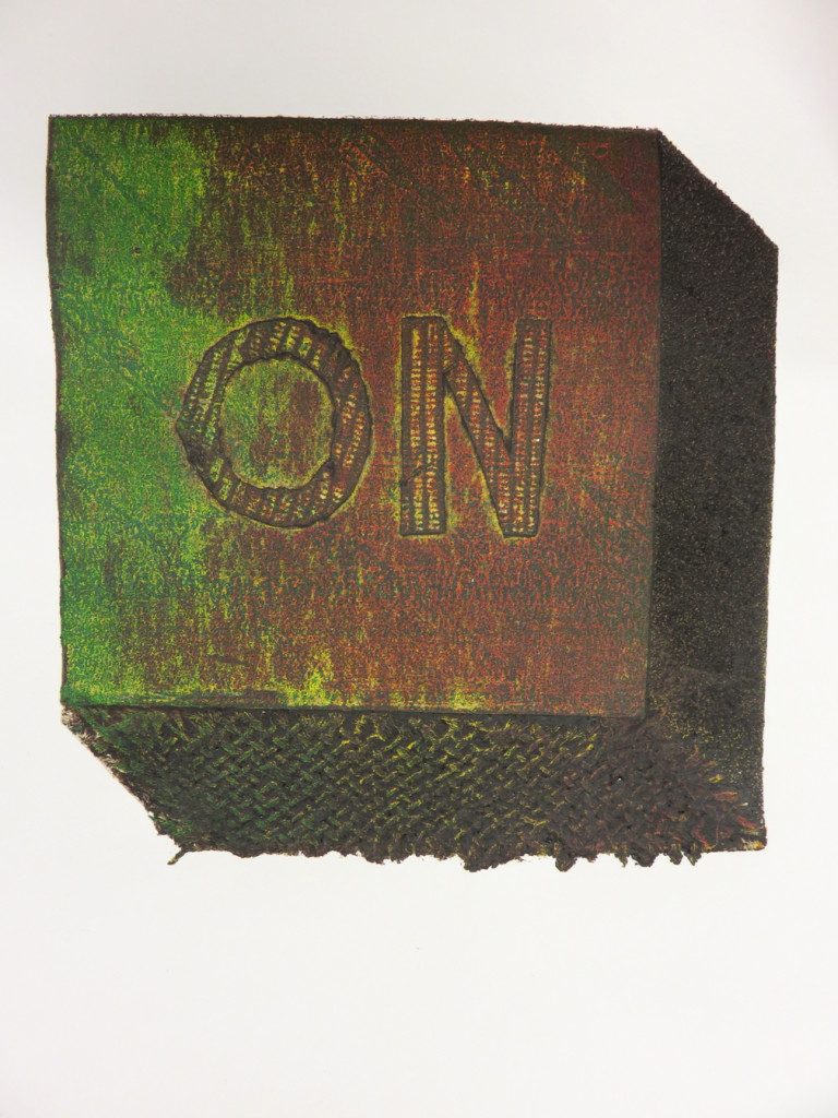"""Chipboard relief; intaglio inked with color viscosity inking. Printed on Zerkall Copperplate, 11"""" x 15"""", 2015."""